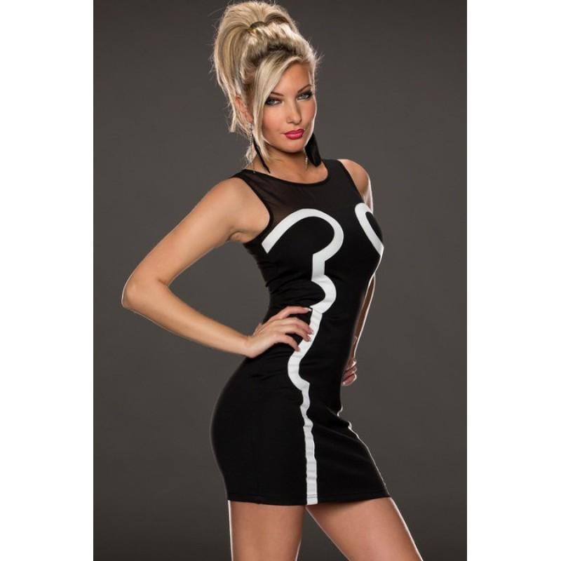 Streifen Kleid schwarz / weiss