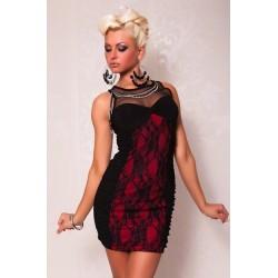 Spitze Kleid rot / schwarz
