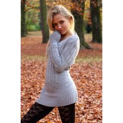 Long Pullover grau