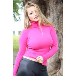 Rollkragen Pullover pink