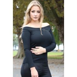 Feinripp Pullover schwarz