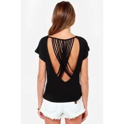Rückenfreies Shirt schwarz