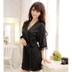 Seiden Kimono schwarz